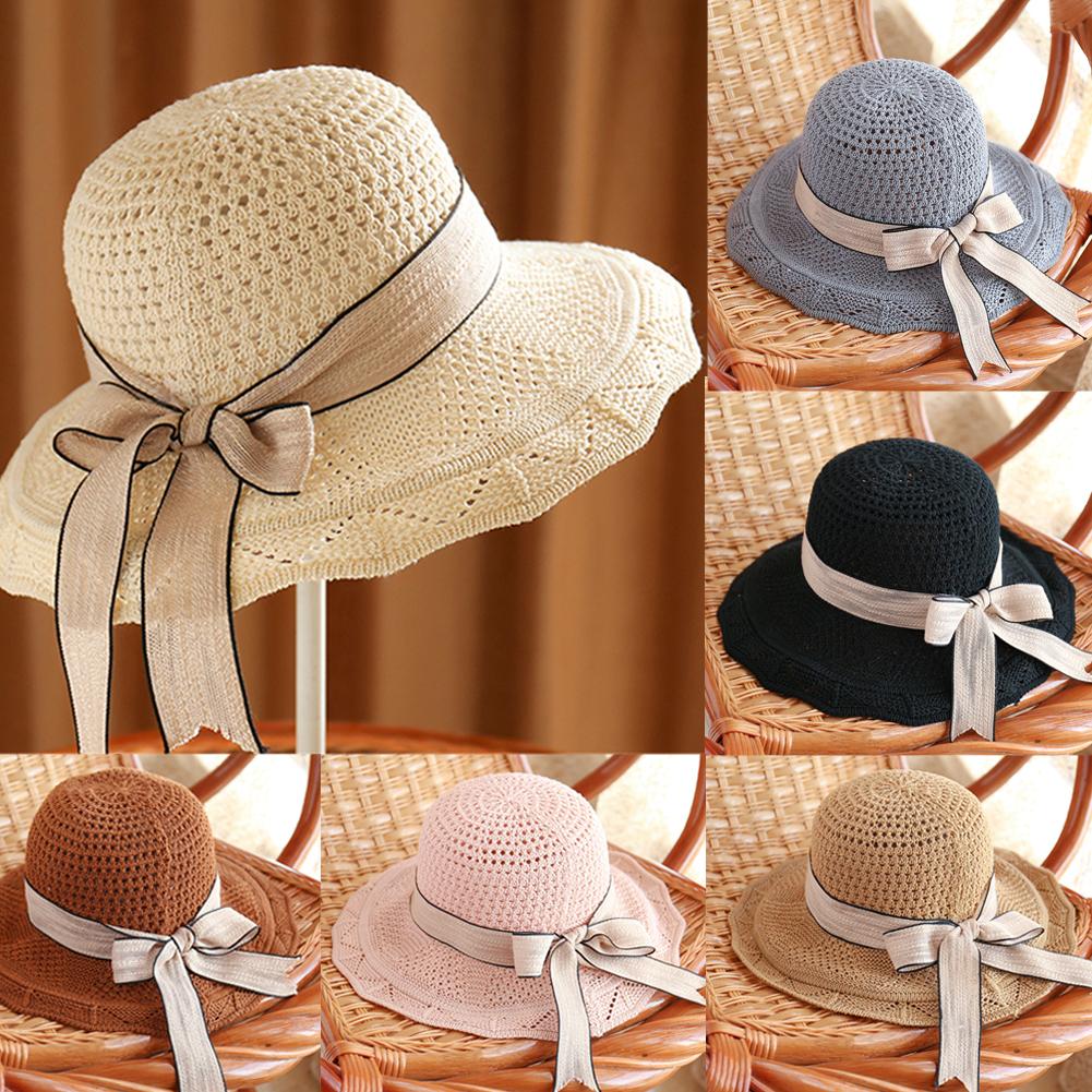 615e27c3 Details about Women Ladies Summer Sun Beach Straw Hat Floppy Wide Brim  Foldable Cap Bucket Hat
