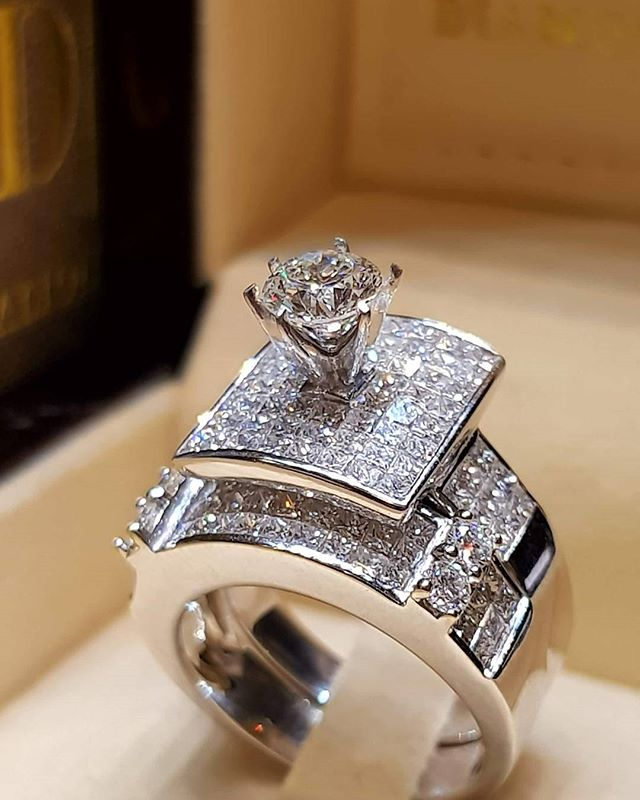 T-Ring Fashion Luxury Yellow Zircon Rings Silver Color Rings Jewelry For Women Wedding Rings
