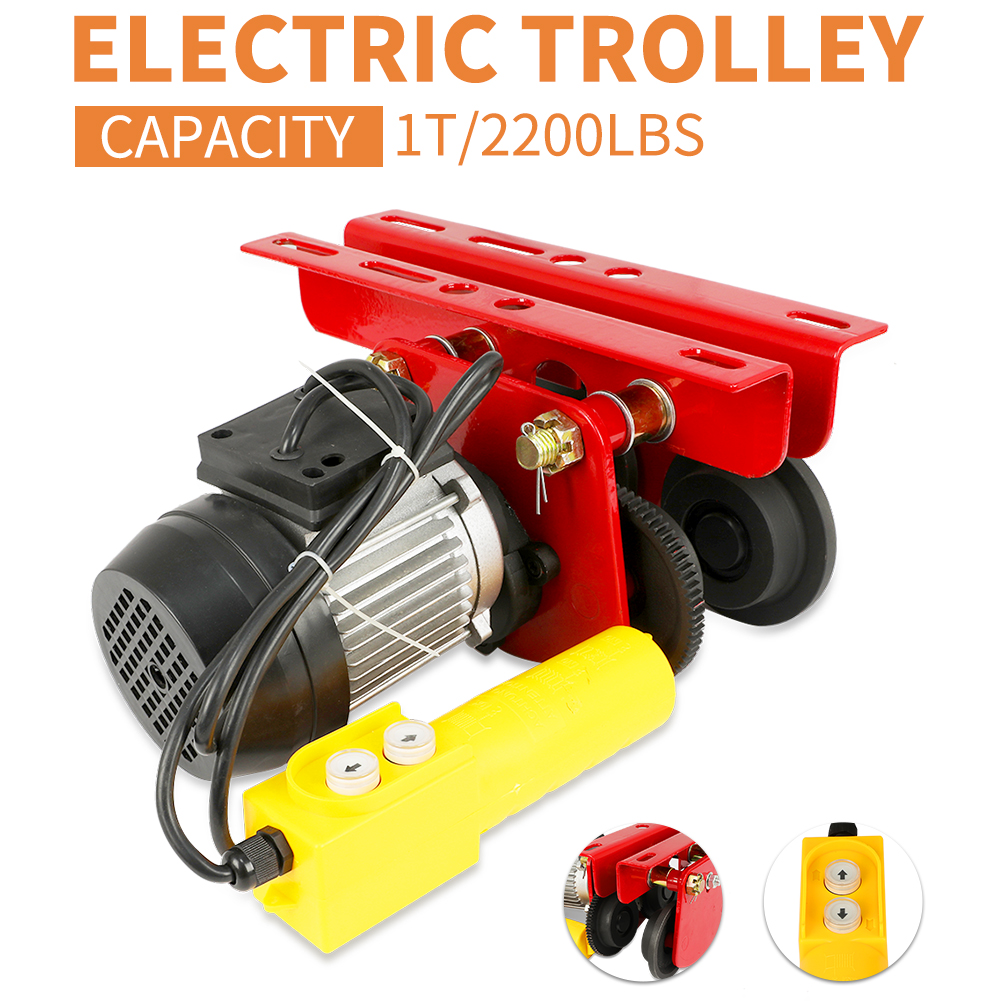 Electric Trolley,0.5T//1100Lbs Electric Push Beam Trolley 2.67-4.3inch Width I-Beams Durable US Warehouse