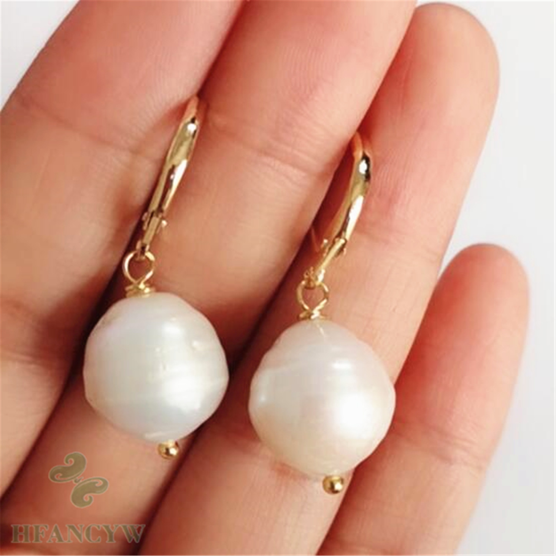 11-13mm white Baroque Pearl Earrings Silver Hook jewelry Fine irregular classic