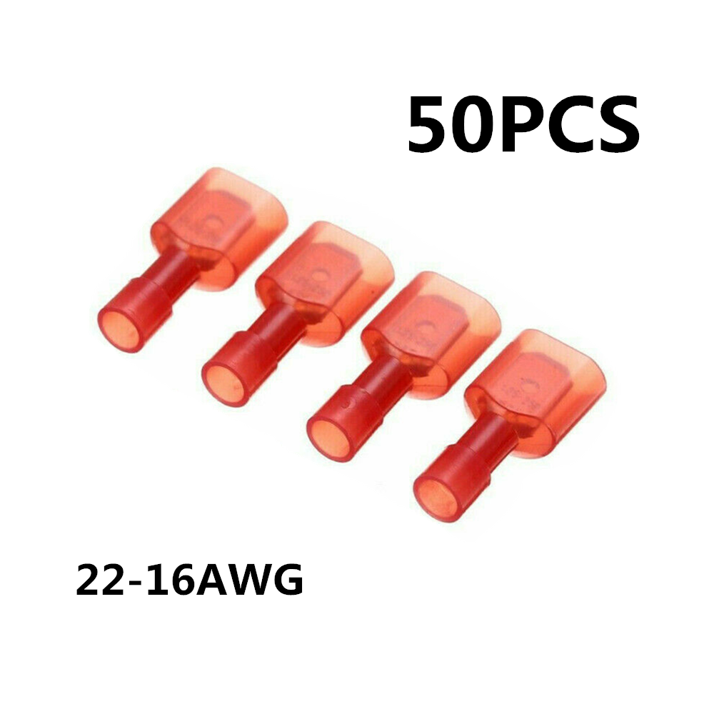 Red 22-16AWG, Blue 16-14AWG, Yellow 10-12AWG 200PCS Wire Connectors, Fully Insulated Male /& Female Spade Nylon Quick Disconnect