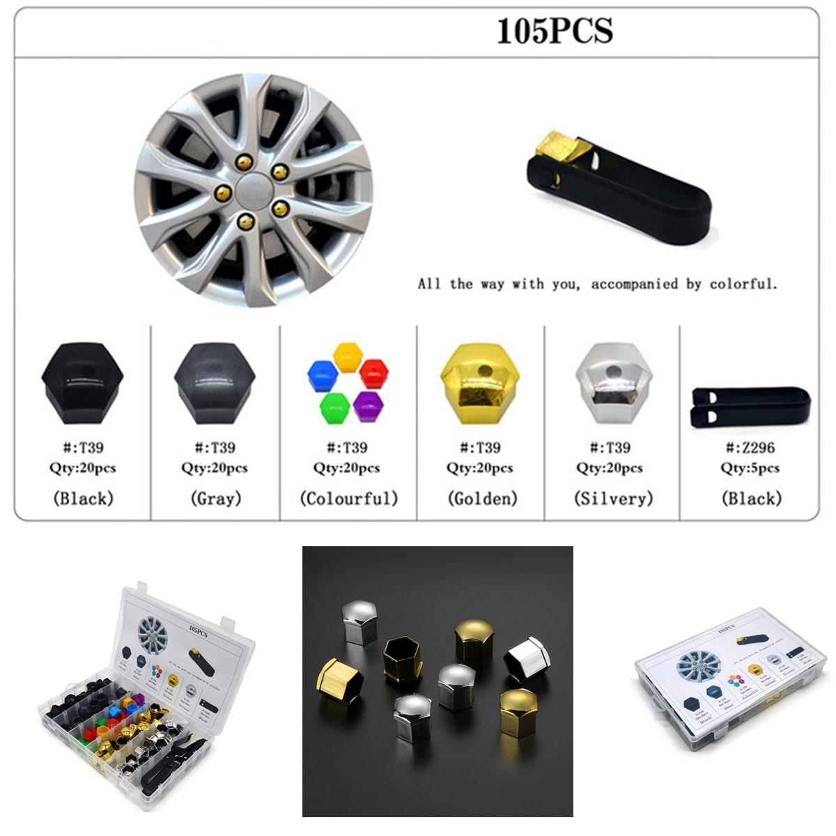 100Pcs 17mm Auto Car Tyre Wheel Nut Screw Bolt Protection Covers Caps Anti-Rust