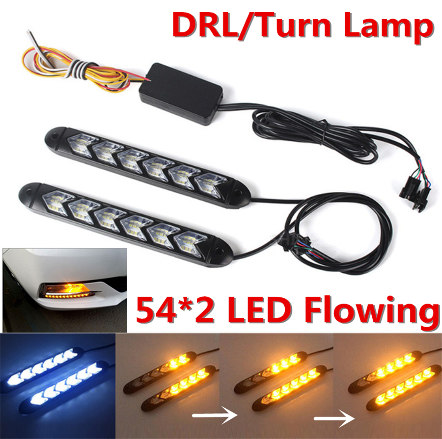 Pair Switchback Flowing LED Strip Light Sequential Turn Signal Headlight White