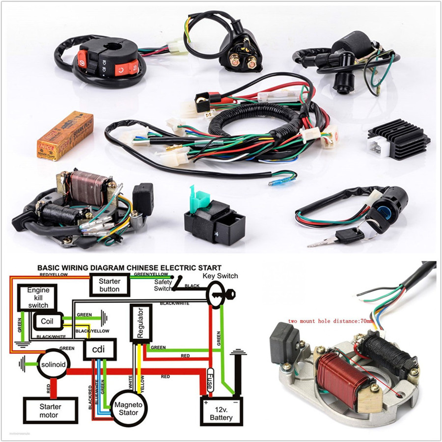 Profession Motorcycle CDI Wire Harness Stator Wiring Kit For 5Pins on