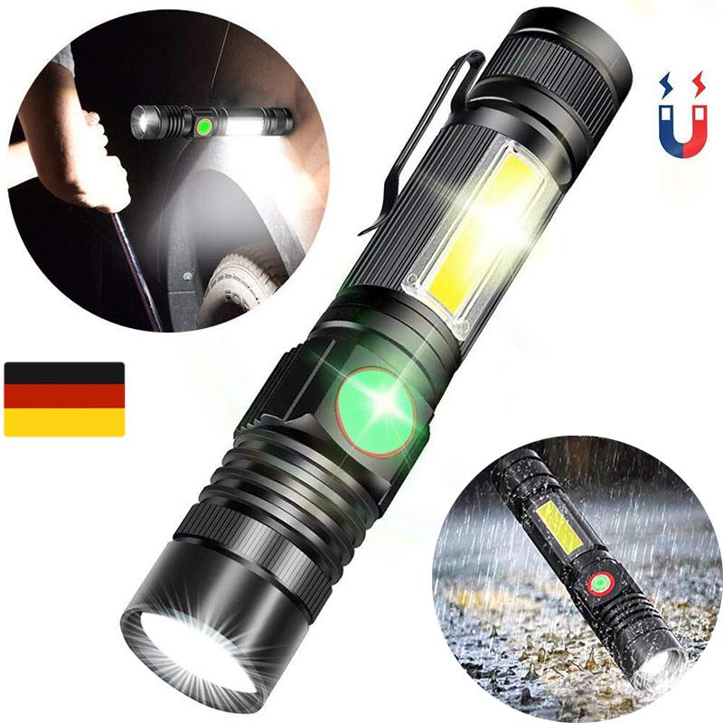 Karrong COB Arbei Mit 18650 Akku Taschenlampe LED Magnet USB Aufladbar Zoombar