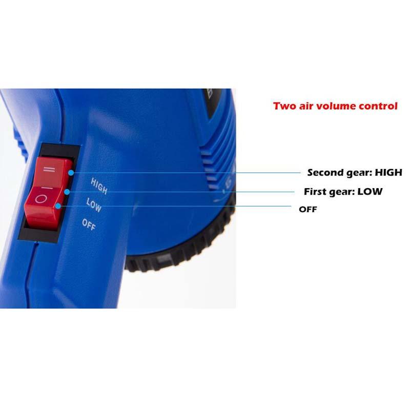 1800 W air chaud pistolet thermique Double température 2 Buse Outil Électrique 60-600 ° UE Plug 220 V