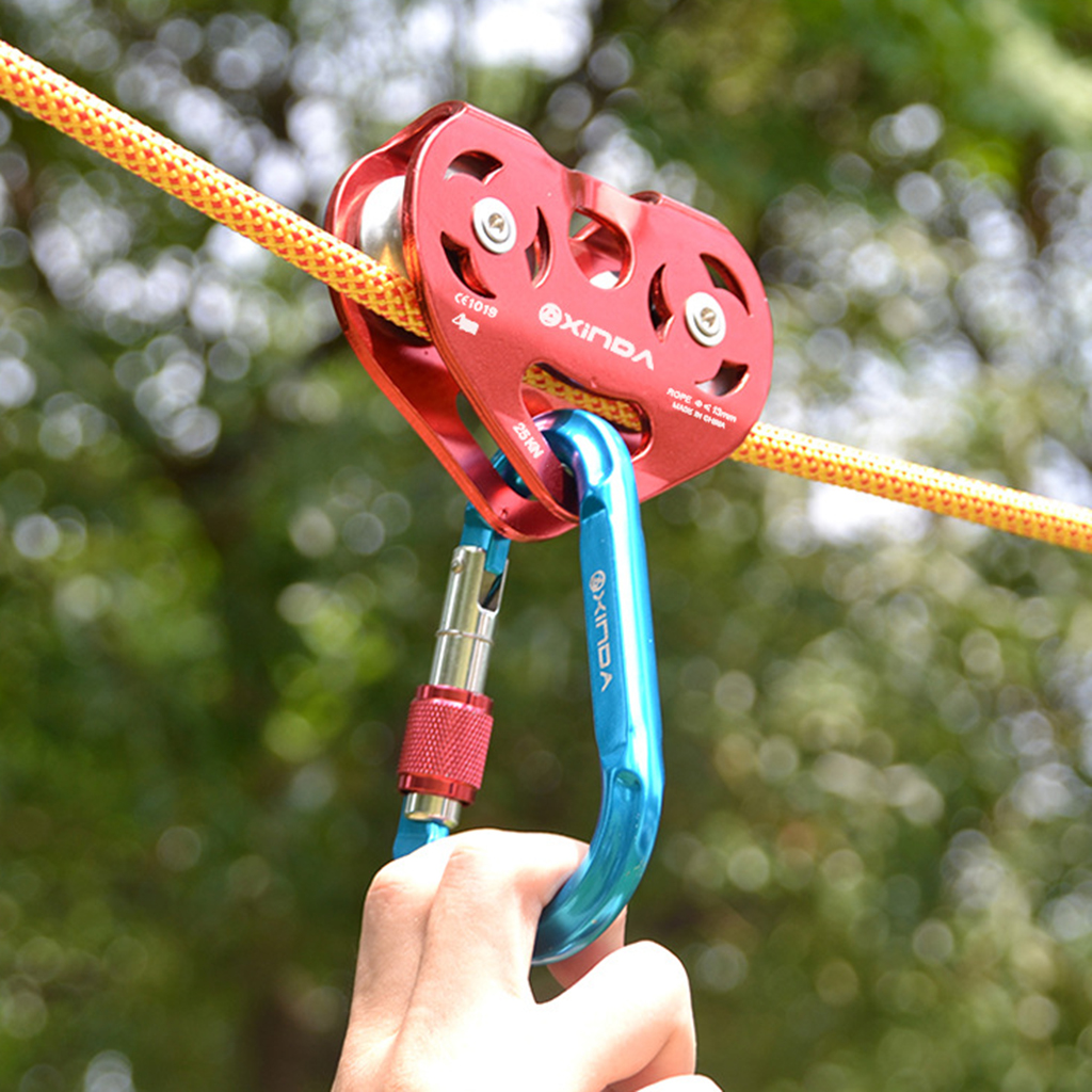 Screw Lock Carabiner Rock Climbing Harness Trolley Pulley Rappelling Equip