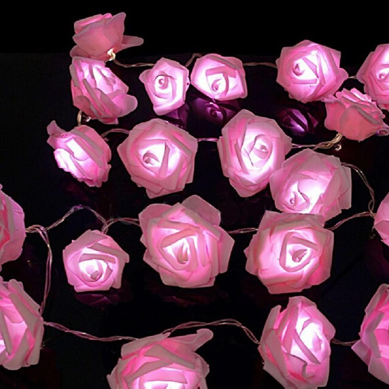 20 pink led string rose flower fairy lights indoor christmas xmas 20 pink led string rose flower fairy lights indoor christmas xmas party bedroom mightylinksfo
