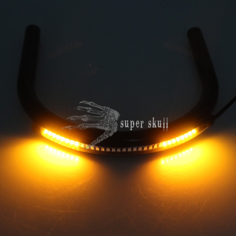 Hump Motorcycle Black Seat /& 220mm Frame Hoop Loop /& LED Turn Signal Tail Light