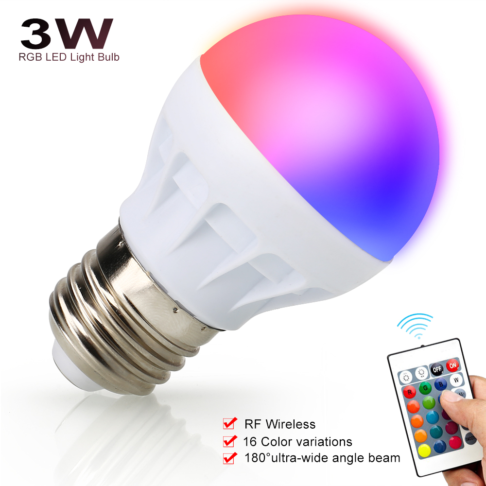 E27 3W RGB Magic Light Bulb Lamp 16 Color Changing 85-265V