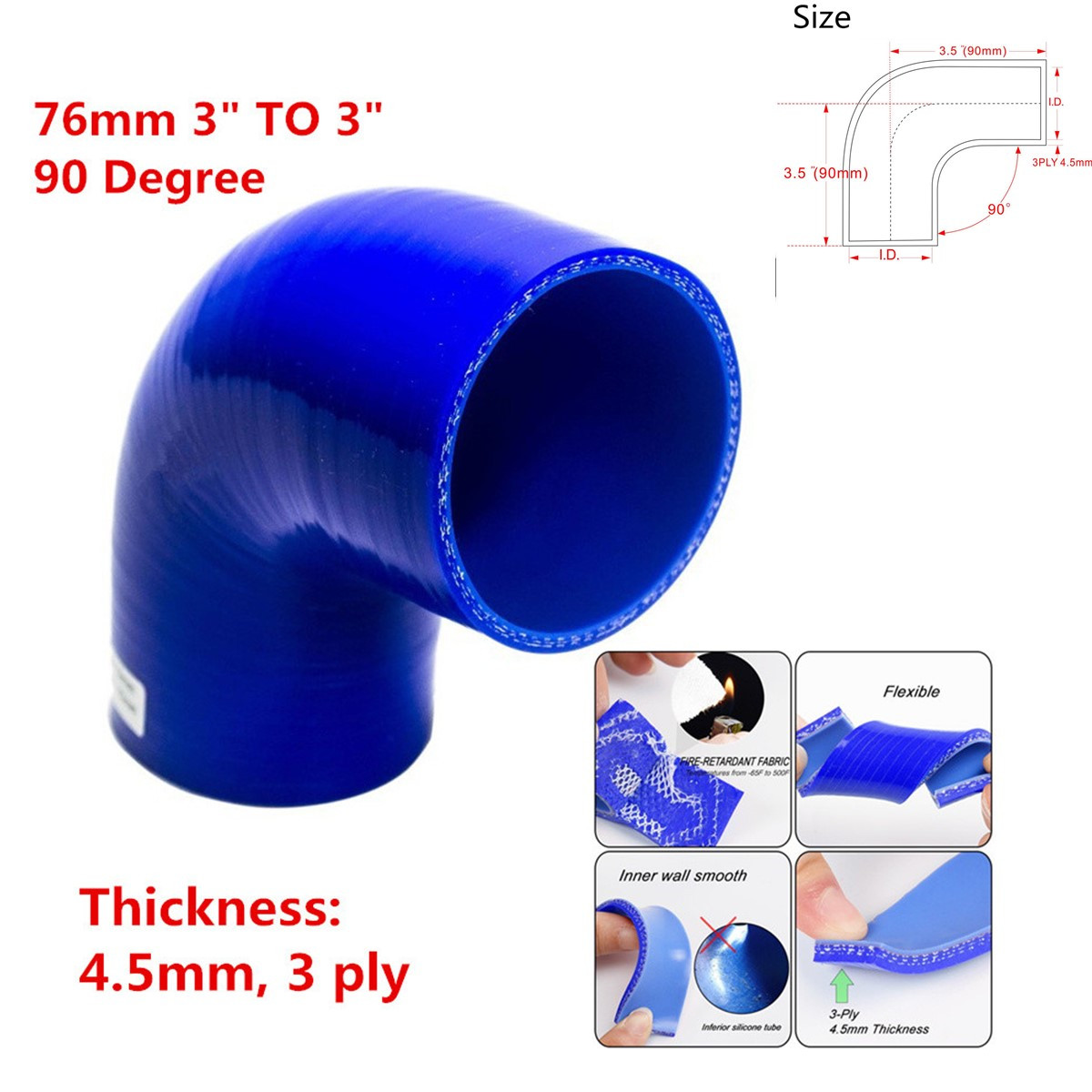 """BLUE 4/""""-3/"""" Universal 90 Degree Elbow Silicone Hose Turbo Pipe Reducer"""