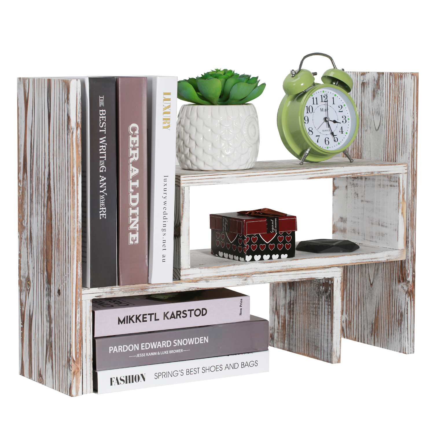Details About Vintage Wooden Desktop Bookcase Desk Shelf Book Storage Organizer Rack Home
