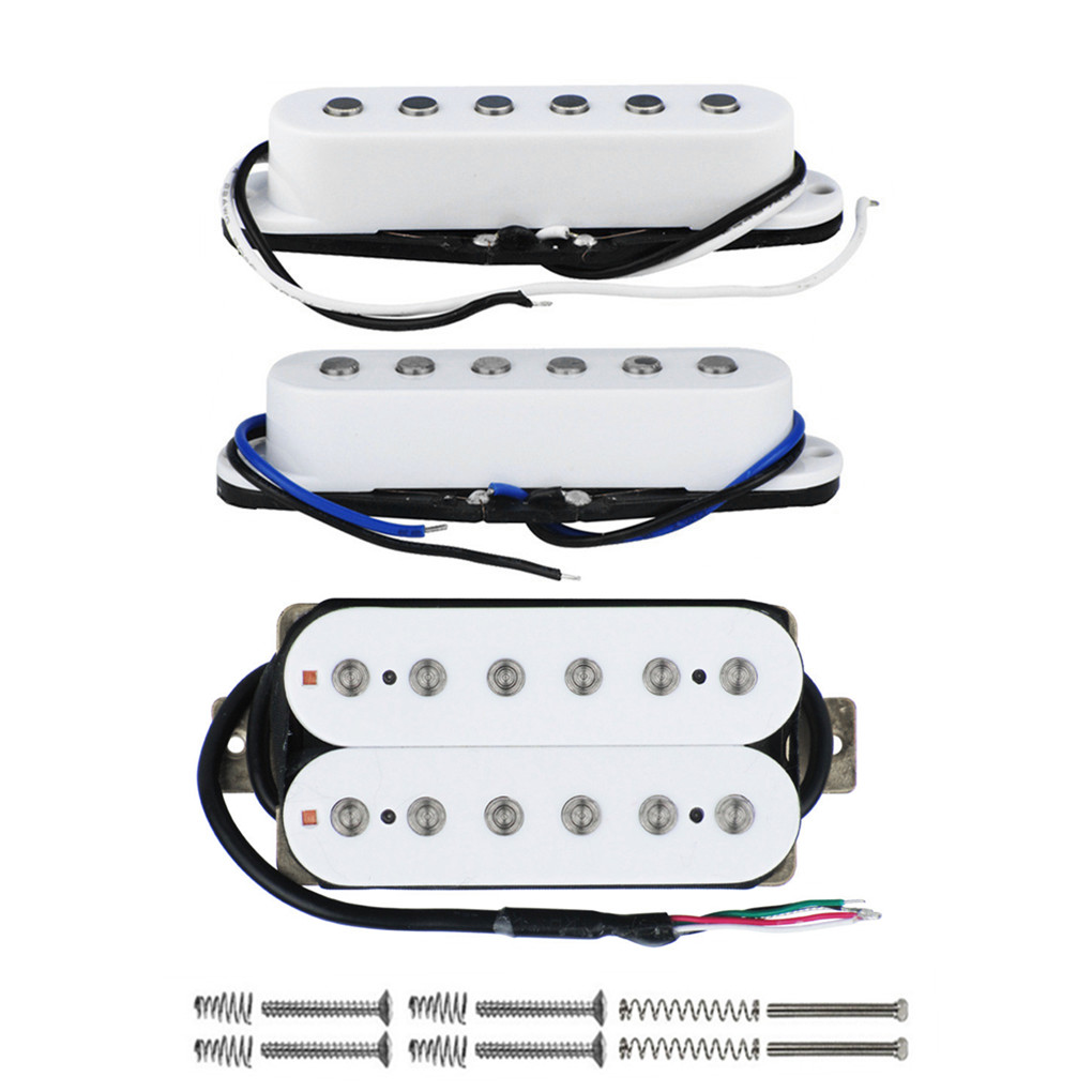 Electric guitar white pickups HSS humbucker and two single coil ST new