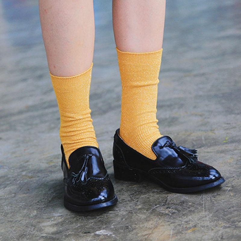 Women Lady Vintage Glitter Socks Casual Winter Long Tube Female Sock Hosiery