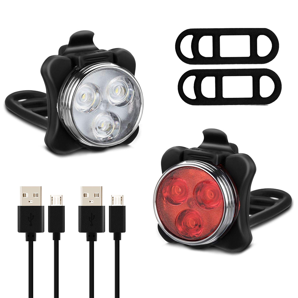 5000LM USB Rechargeable Bicycle HeadLight Double LED Bike Front Lamp Charger Set