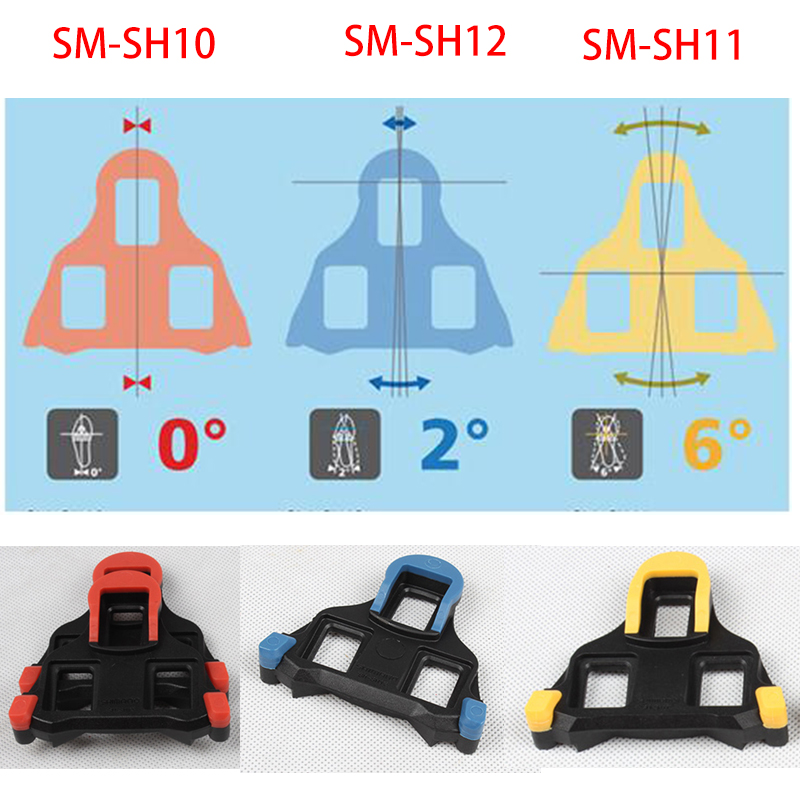 Shimano SM-SH10//11//12 Cleat set 2//6 degree Float SPD-SL Road Bike Pedal Cleats