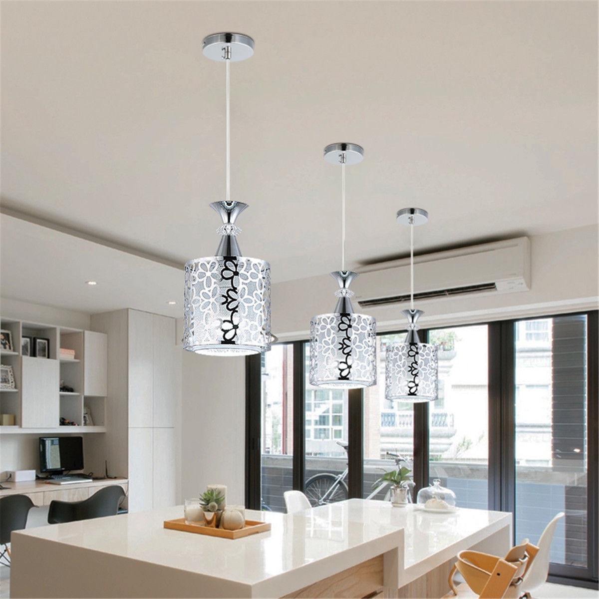 Details about ceiling light modern crystal iron pendant lamp dining room chandelier decor
