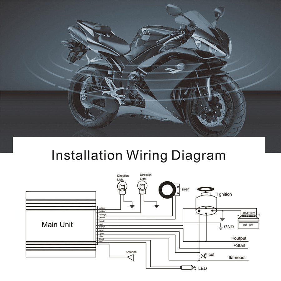 Remote Engine Start Motorcycle 2way Anti Theft Alarm System Security 12v Wiring Diagram 2 Way W Starter Lcd Fobs