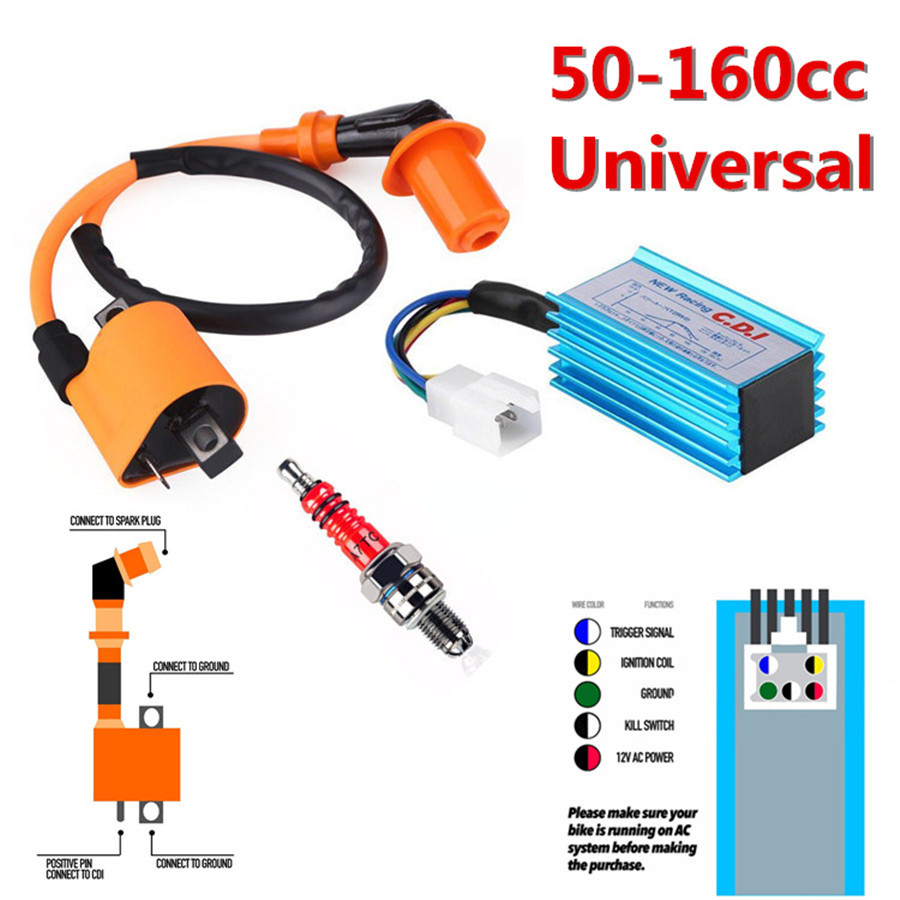 5 pin cdi ignition wiring diagram 150cc one set motorcycle bikes cdi box 5 pin ignition coil spark plug  ignition coil spark plug