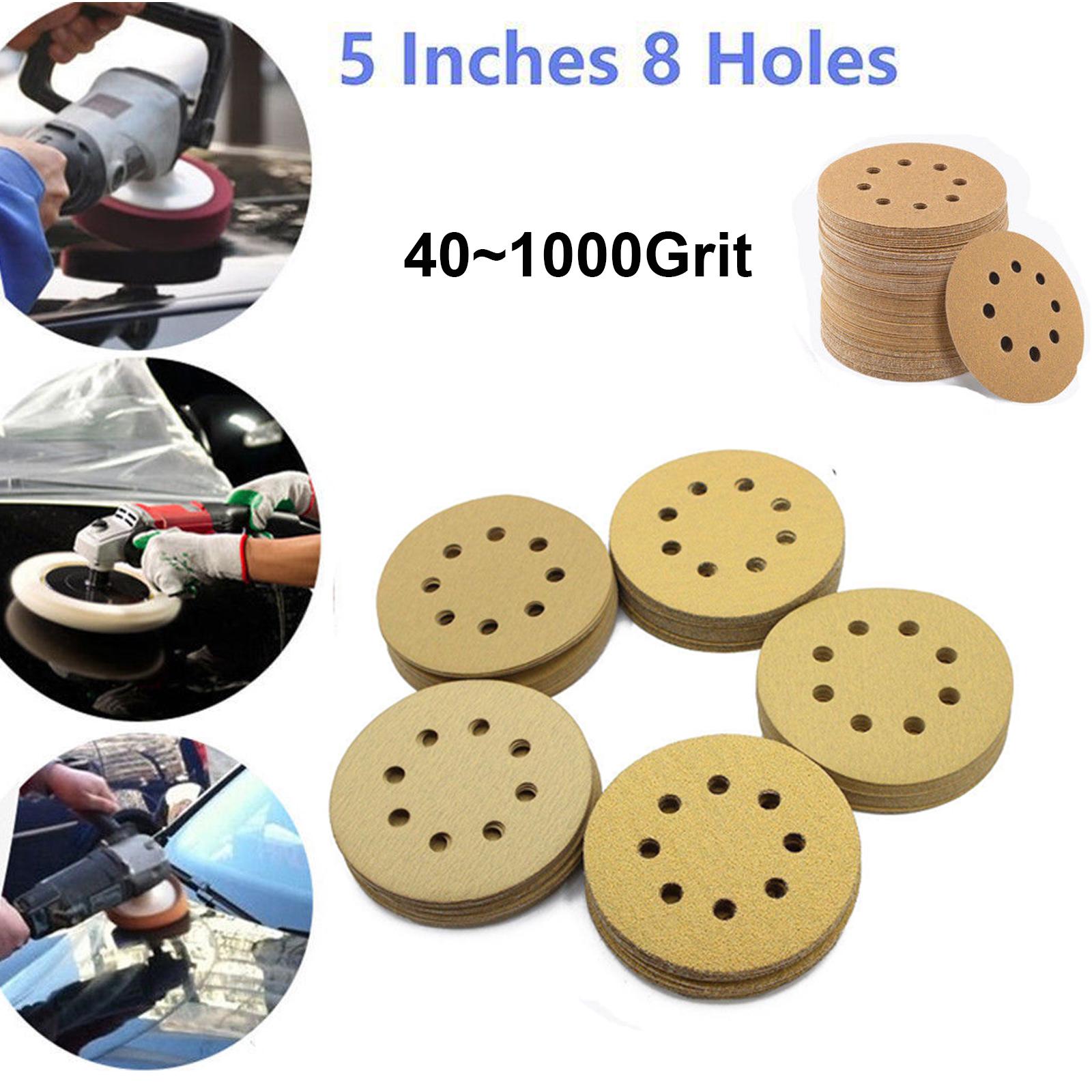 10pcs 125mm Sanding Discs Sheets Hook Loop Orbit Sander Sandpaper 40~2000 Grit
