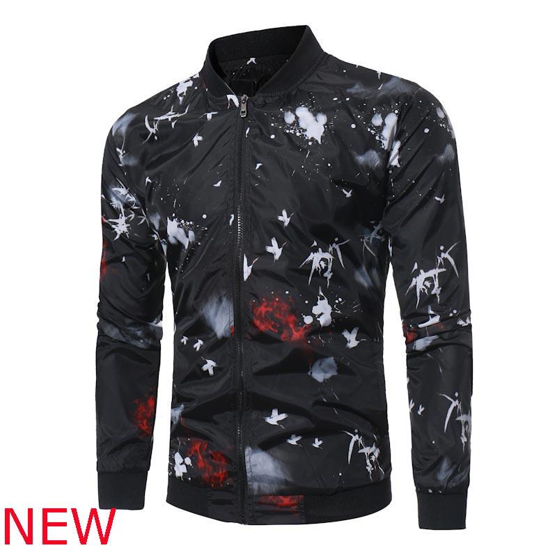 Casual Coat Zipper Outwear Long Sleeve Men New Baseball Slim Fit Jacket Overcoat
