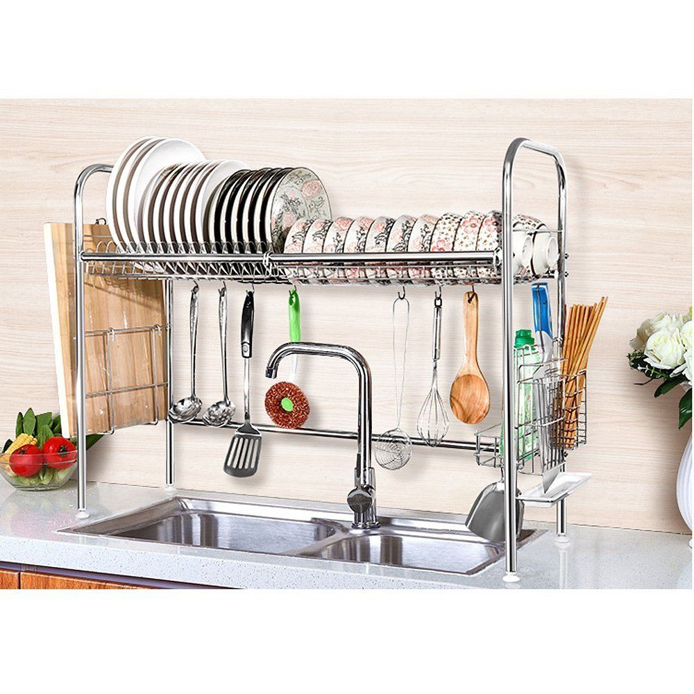 Details about Stainless Steel Dish Drying Rack Dish Storage with Chopstick  Holder Rrustless