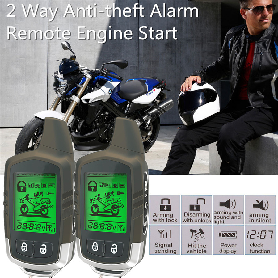 Details about Remote Engine Start Motorcycle 2Way Anti-theft Alarm System  Security Immobiliser