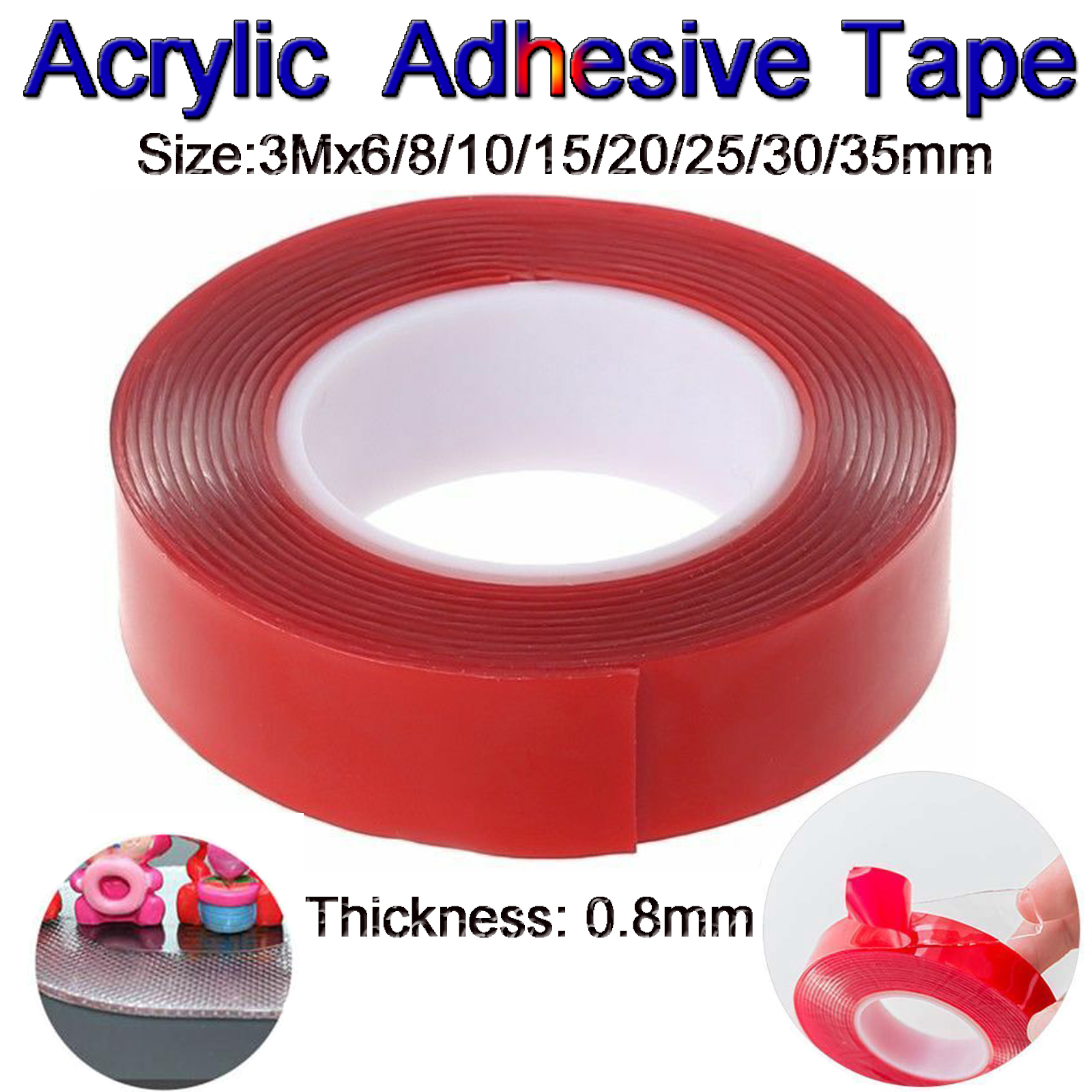 8mm Double Sided Clear Transparent Acrylic Foam Adhesive Sticky Tape 3M Roll