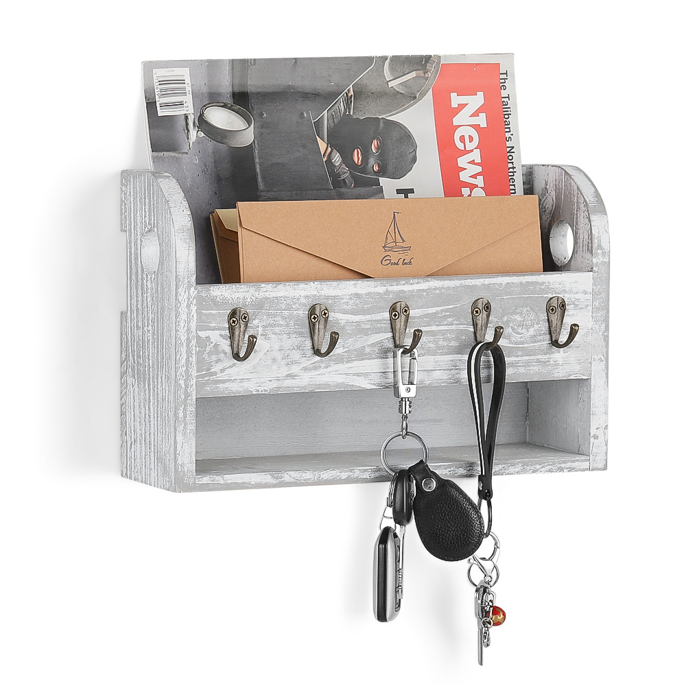 Wall Mount Mail And Key Rack Holder Entryway Letter Organizer Hook Storage Decor