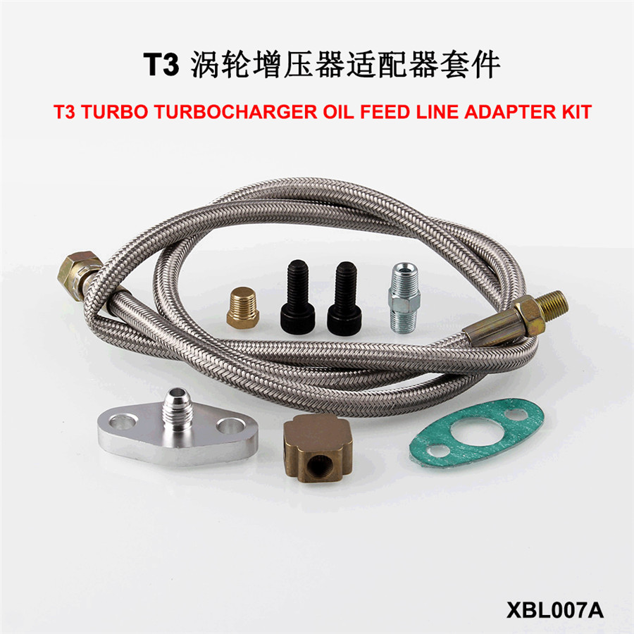 """New 36/"""" BRAIDED STAINLESS STEEL TURBO CHARGER 1//8 NPT FITTING OIL FEED HOSE KIT"""