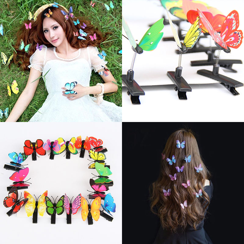 Butterfly Hair Clips 5PCS Mixed Imitation 3D Festival Summer Party Wedding Gift