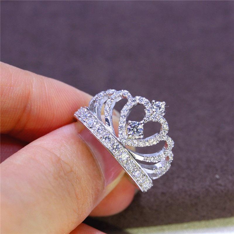 Romantic Princess Crown Heart Bridal Wedding Ring Silver Jewelry