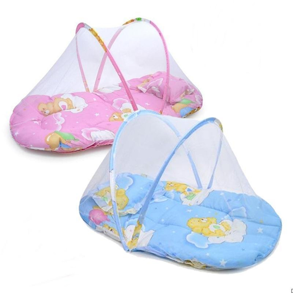 Small Portable Baby Bed Crib Folding Mosquito Net Infant Cushion Mattress Pillow