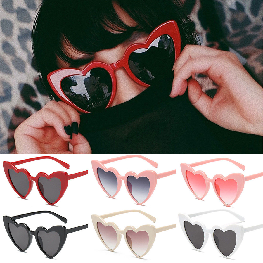 Pink Love Heart Shaped Sunglasses Women Luxury Cat Eye Sun Glasses Ladies Vintage Pink Black Eyewear Uv400 Lolita Eyewear Girls High Resilience Women's Glasses