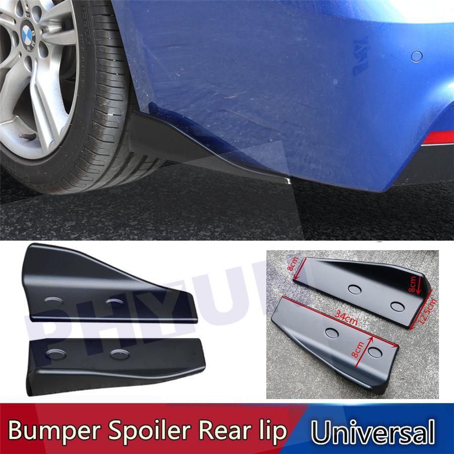 2x Universal Car Rear Bumper Anti-Scratch Lip Splitters Winglets Canards Black