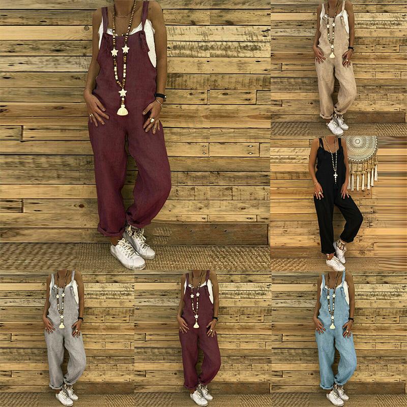 Women Dungaree Bib Cargo Pants Hip Hop Harem Pants Jumpsuit Romper Plus New