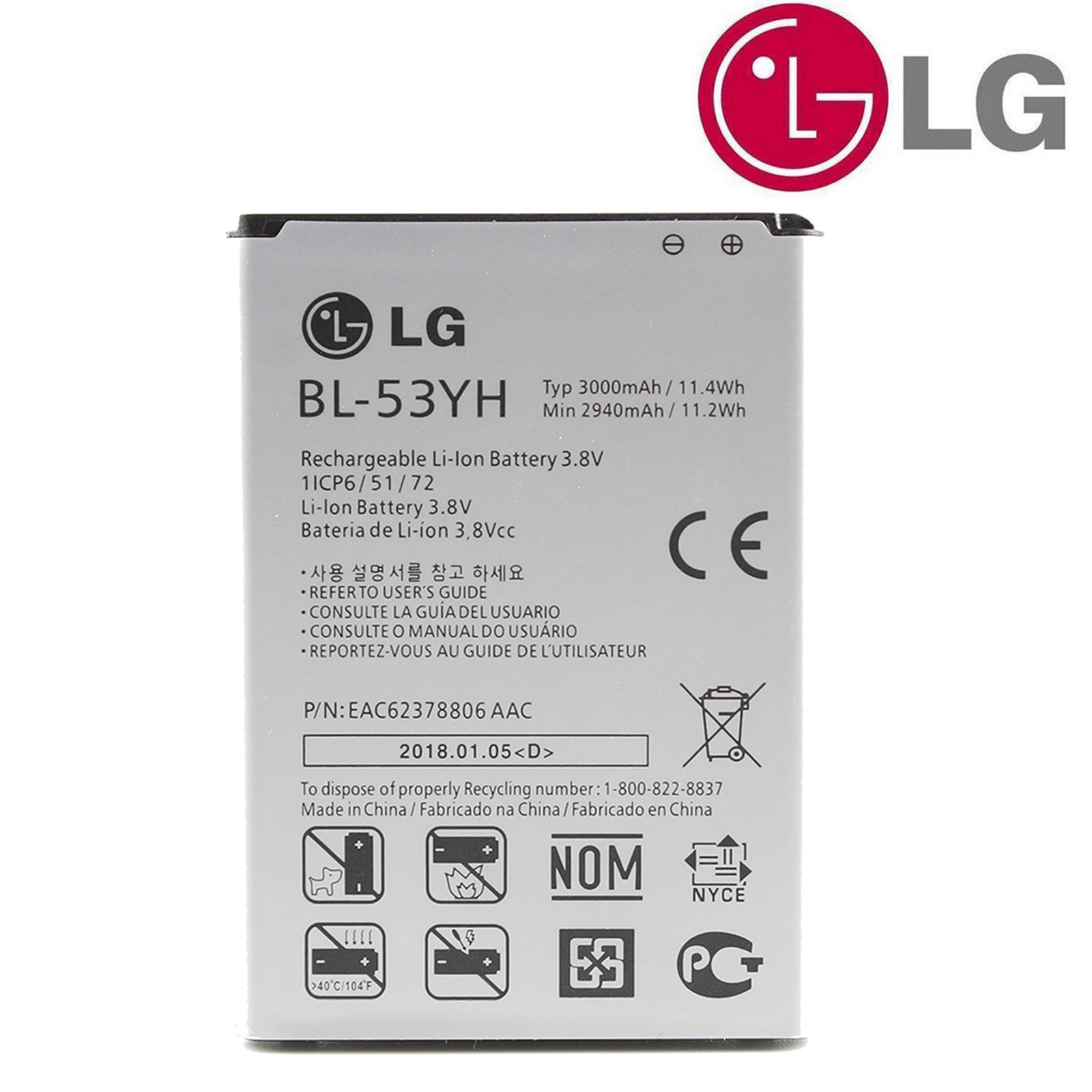 Details about Original OEM LG BL-53YH Battery For LG G3 Li-ion Cell Phone 3.8V 3000mAh +Tools