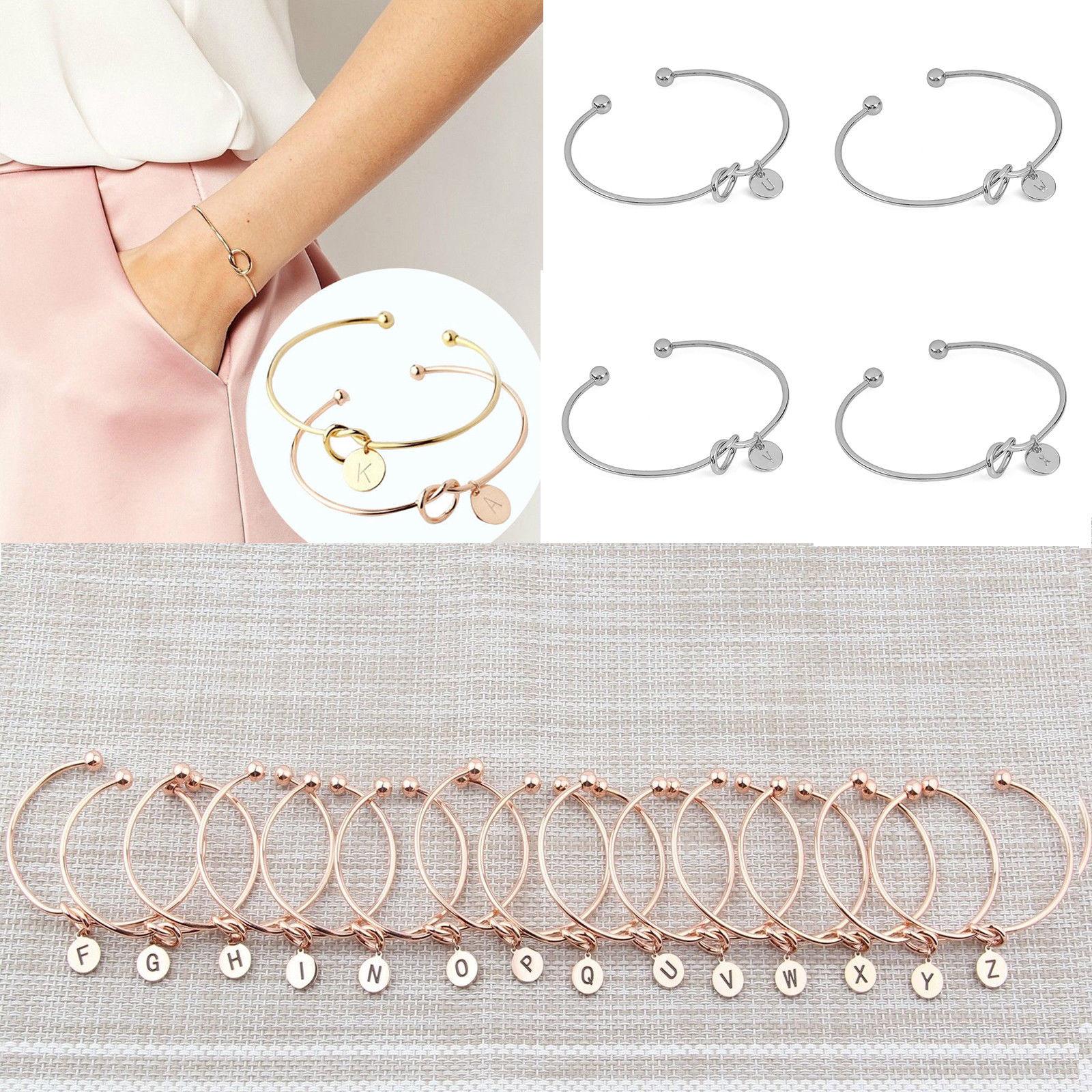 Personalized Initial Knot Bracelet Monogram Bracelet Bridesmaid Letter Bracelet