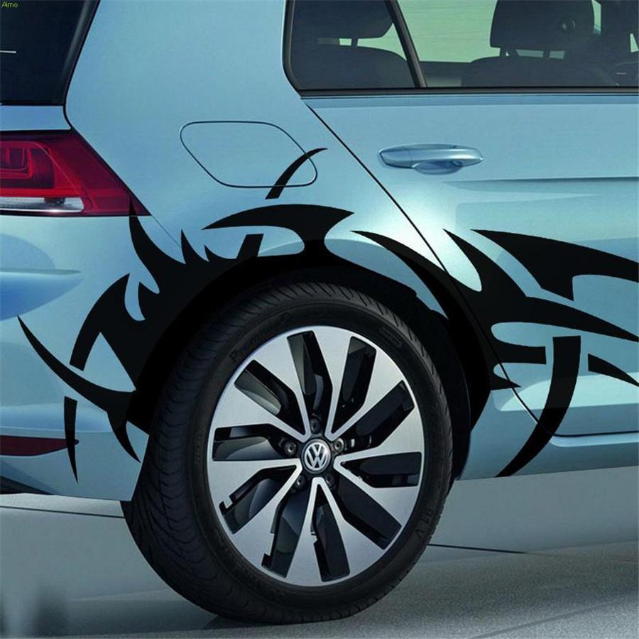 2pcs Car Side Body Wheel Eyebrow Flame Diy Waterproof