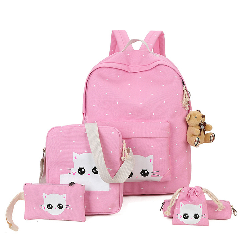 4fe72f141b38 Details about 5 Set Kid Backpack Cute Cat School Bag For Teenage Girl Canvas  Backpack Rucksack