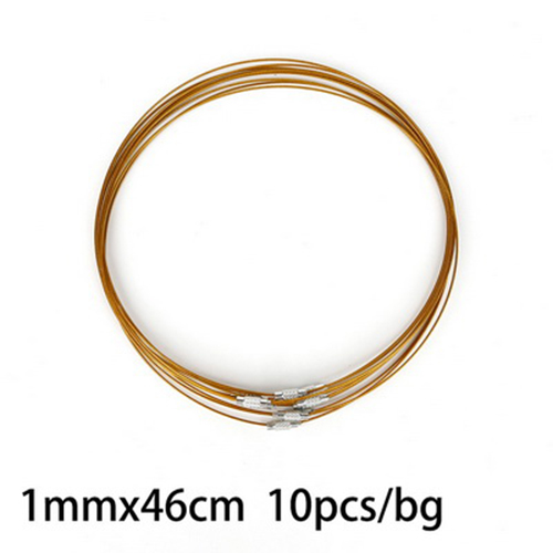 "100 Strds Random Steel Wire Necklace Cords Screw Clasp Choker Strings 17.5/""x1mm"