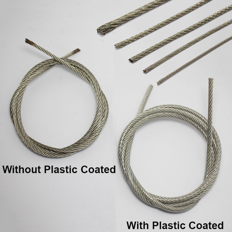 10M Length 1.2mm Dia Plastic Coated Flexible Steel Wire Cable Rope Silver Tone