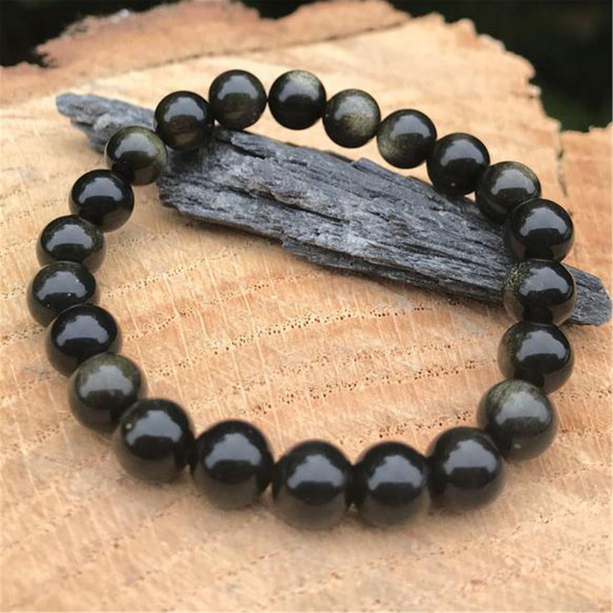 8mm Chakra Stone Frosted Obsidian Mala Buddhist Bracelet Yoga Natural Cheaply
