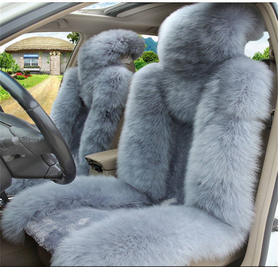 Swell Details About Unique Stylish Grey Fluffy Genuine Australian Sheepskin Fur Car Front Seat Cover Alphanode Cool Chair Designs And Ideas Alphanodeonline