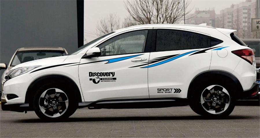 Black Blue SUV Car Racing Stripes decal Stream-line Fashion Vinly Side Sticker