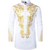 Men's African Traditional Dashiki Luxury Metallic Gold Printed Mid Long Shirt