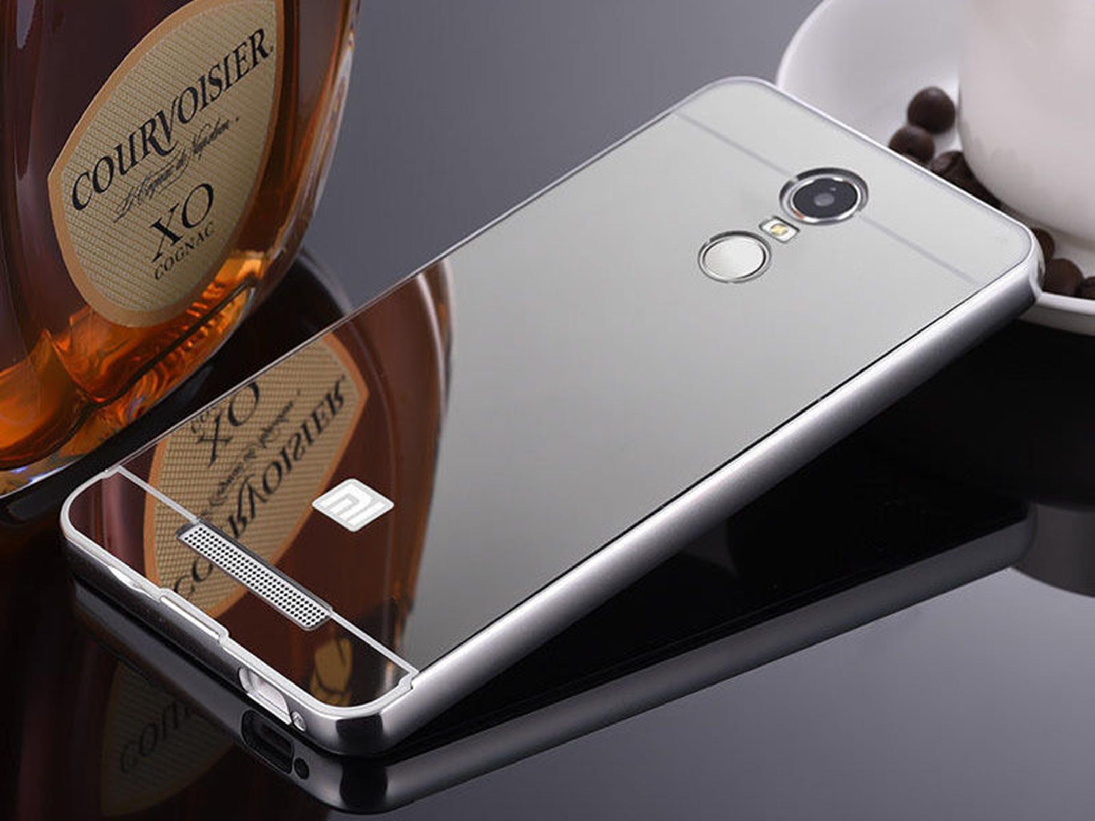 Metal Aluminum Frame Bumper Case+PC Mirror Slim Back Cover For Xiaomi Redmi Note
