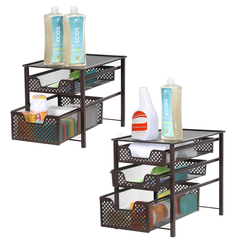 Details about Kitchen Countertop Cabinet Houseware Storage Organizer Rack  Slide Basket Drawer