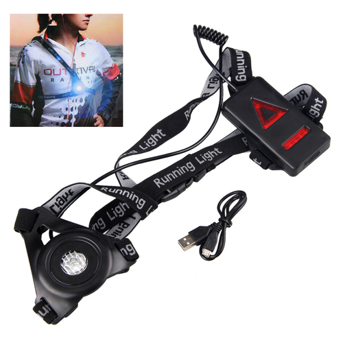 250LM LED Chest Belt Flashlight for Night Running Walking USB Rechargeable Light