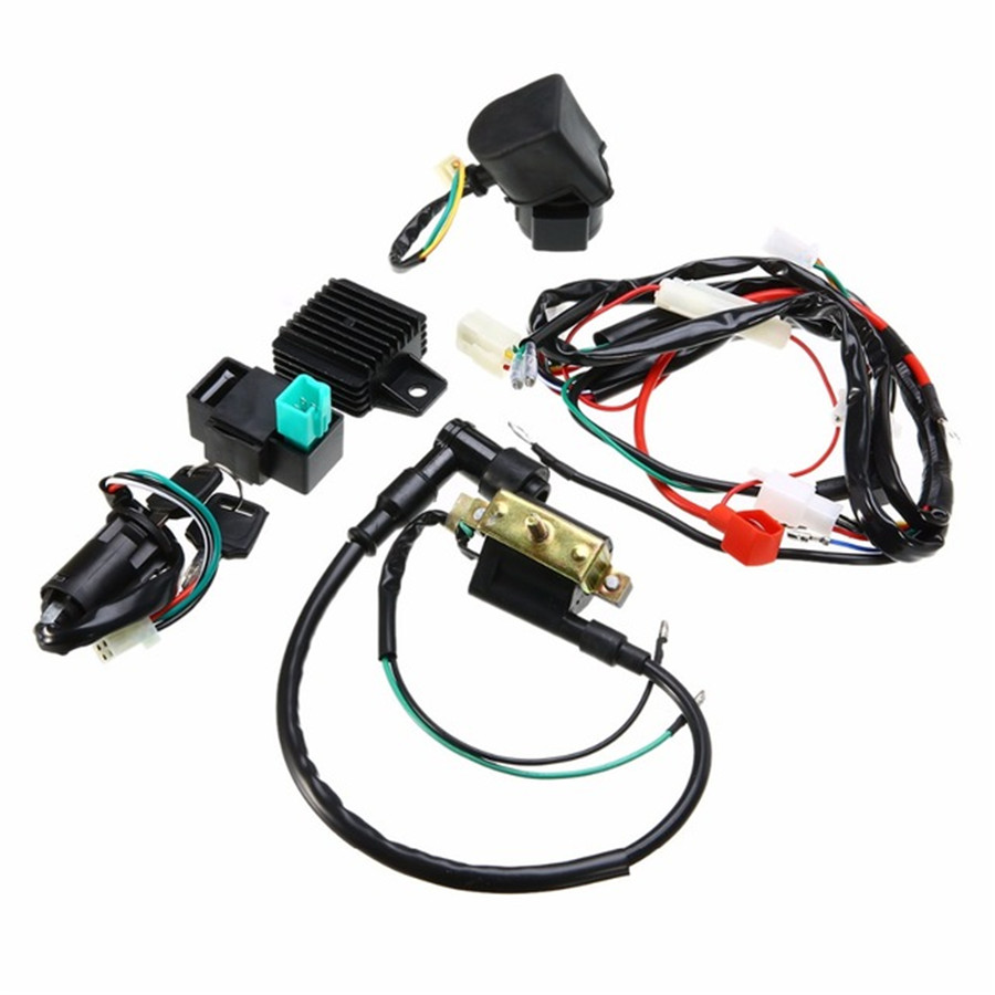 Motorcycle Ignition Key Coil Wiring Harness Kit For 50cc